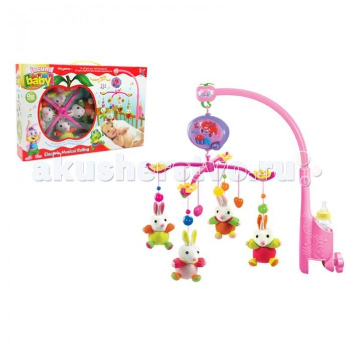 Мобиль Henglei  Зайцы с батарейкамиЗайцы с батарейкамиМузыкальный мобиль Зайцы с батарейками.  Помогает им в развитии фиксирования зрения на движущихся предметах, улучшает засыпание. Цветные игрушки привлекут его внимание, а звук мелодии позволит ребёнку успокоиться.   Характеристики: мягкие игрушки - зайцы музыкальный блок с регулировкой звука держатель для бутылки на батарейках выполнены из безопасных материалов высокого качества<br>