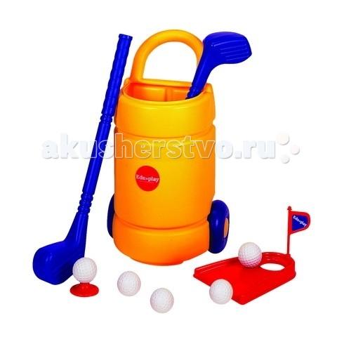 Edu-Play Набор для ГольфаНабор для ГольфаДетский набор для игры в гольф. Эта игра позволит подготовится вашему ребенку ко взрослой игре в гольф и послужит прекрасным развлечением для группы детей.  В состав набора входят реальные составляющие как и во взрослой игре: сумка для гольфа - 1шт клюшка - 2шт подставка для мяча - 1шт мячики - 5шт лунка - 1шт флажок - 1шт  Игровой набор предназначен для детей от 3-х лет. Игра упакована в красивую цветную коробочку и послужит прекрасным подарком для вашего ребенка.<br>