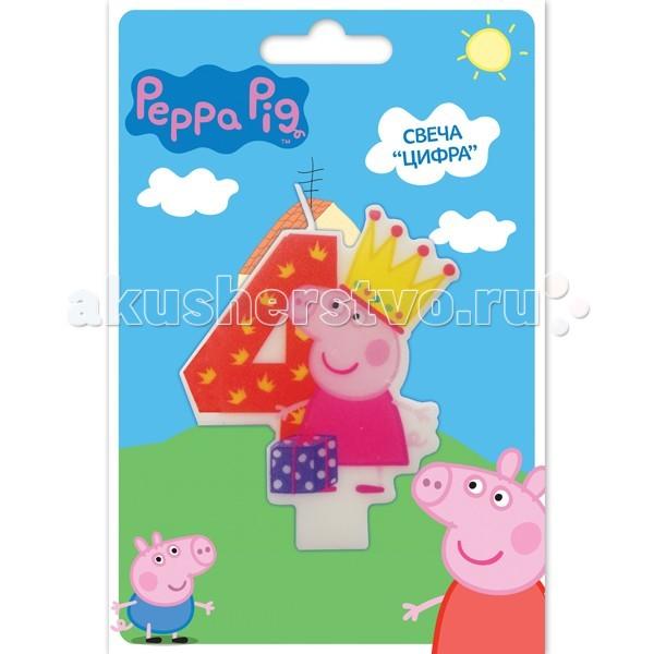 Peppa Pig Фигурная свеча Цифра 4Фигурная свеча Цифра 4Peppa Pig Фигурная свеча Цифра 4. Вашей малышке исполняется 4 годика? Это радостное событие не может обойтись без вкусного торта с красивой фигурной свечой в виде любимой героини.   Идеальным решением может стать фигурная свеча Цифра 4 со Свинкой Пеппой. Такой сказочный подарок приведет малютку в искренний восторг и поможет организовать веселую игру с задуванием яркого огонька.   Задувая огонек, виновница торжества сможет загадать свое самое заветное желание, которое обязательно исполнится! Кроме того, такая увлекательная игра развивает дыхательную систему ребенка, что благотворно влияет на развитие всего организма.   В наборе: фигурная свеча Цифра 4, с нанесенным рисунком имеет высоту 8 см<br>