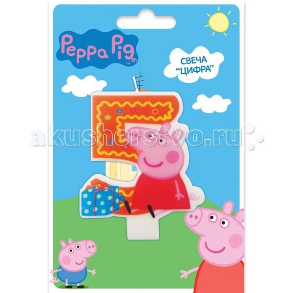 Peppa Pig Фигурная свеча Цифра 5Фигурная свеча Цифра 5Peppa Pig Фигурная свеча Цифра 5. Вашей малышке исполняется 5 лет? Это радостное событие не может обойтись без вкусного торта с красивой фигурной свечой в виде любимой героини.   Идеальным решением может стать фигурная свеча Цифра 5 со Свинкой Пеппой. Такой сказочный подарок приведет малютку в искренний восторг и поможет организовать веселую игру с задуванием яркого огонька.   Задувая огонек, виновница торжества сможет загадать свое самое заветное желание, которое обязательно исполнится! Кроме того, такая увлекательная игра развивает дыхательную систему ребенка, что благотворно влияет на развитие всего организма.   В наборе: фигурная свеча Цифра 5, с нанесенным рисунком имеет высоту 8 см<br>