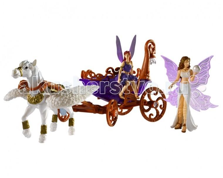 Simba Magic Fairies Лошадка с каретой 4418530Magic Fairies Лошадка с каретой 4418530Лошадка с каретой Simba Magic Fairies – превосходная игрушка для всех любителей сказочных эльфов.    Особенности:    Набор состоит из красивой кареты, запряженной волшебным единорогом, а также двух фигурок лесных эльфов.   У кареты подвижны все 4 колеса, таким образом, можно посадить в карету фигурки эльфов и покатать их.   На карете есть подсветка, которая делает игрушку еще более привлекательной и красивой.     В наборе:    карета,   единорог,   2 эльфа<br>