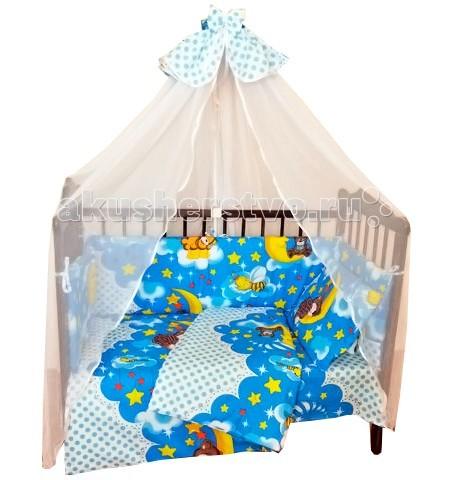 Комплект для кроватки Alis Соня (6 предметов)Соня (6 предметов)Красивый комплект в кроватку Alis Соня (6 предметов), выполненный из бязи. Симпатичные рисунки поднимут настроение и украсят любую кроватку. Насыщенные цвета не поблекнут даже после многочисленных стирок.   Характеристика: 100% хлопок  Съемные борта на молнии Ткани собственного дизайна. Только натуральные ткани Борта из 2х частей На бортах комплекта по 6 завязок Наполнитель подушки и одеяла Аэроофайбер, бортиков - холлкон  В комплекте  простынь (100х150) наволочка (40х60) подушка (38х58) пододеяльник (112х147) одеяло (108х140) бампер (40х360)  Внимание! Цвета представлены в ассортименте!<br>