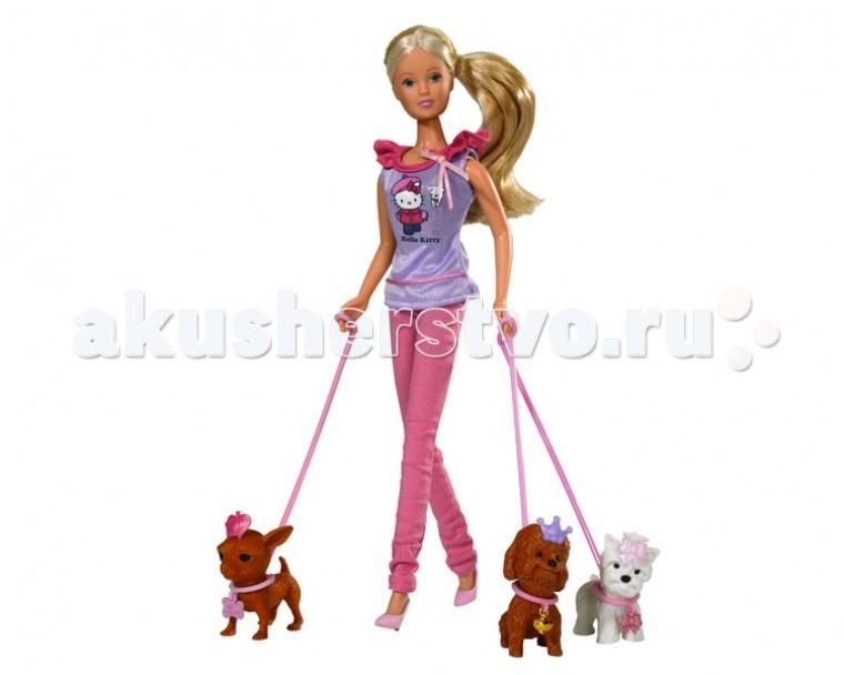 Simba Кукла Штеффи с собачками Hello KittyКукла Штеффи с собачками Hello KittyКукла Simba Штеффи с собачками Hello Kitty станет идеальным подарком любой девочки.   Кукла Штеффи обожает животных, особенно собачек. Ей доставляет удовольствие гулять и играть с ними. В этот раз Штеффи на прогулке с тремя любимцами.   Особенности:    Изготовлена из безопасных для малышей компонентов пластмассы и ткани  Универсальные размеры куклы позволяют переодевать ее в другие различные костюмы  Ручки и ножки куклы можно двигать и сгибать, придавая ей различные положения. Ноги Штеффи имеют шарниры в коленях   Размер: 29 см<br>