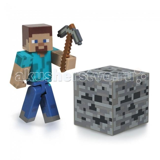 Minecraft Игровой набор Стив 3 предметаИгровой набор Стив 3 предметаГлавный герой популярной игры Minecraft - Стив - теперь может оказаться прямо у Вас дома! В этот небольшой стартовый набор, помимо фигурки главного персонажа, также входит кирка и пиксельный блок с углем. Весь набор выполнен из высококачественной пластмассы, а все конечности у фигурки могут двигаться, что способствует полноценному игровому процессу ребенка. Собери все наборы и построй собственную вселенную Майнкрафт у себя дома!  Комплектация набора:  Игрок Steve  Кубик земли  Кирка  Характеристики набора:  Материал: пластик  Размер: 6 см Размер коробки: 14x17 см<br>
