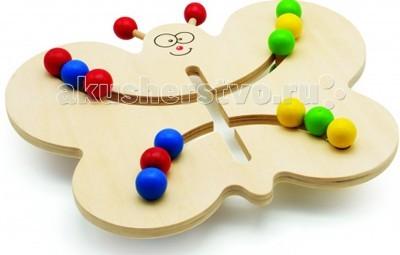 Деревянная игрушка МДИ Лабиринт-БабочкаЛабиринт-БабочкаЗамечательный Лабиринт-Бабочка с разноцветными шариками.  В комплект входит 15 карточек с различными комбинациями расстановки шариков. Длина: 30 см  Ширина: 30 см Высота: 22 см Для детей от 2 лет. Захватывающая и обучающая игра - лабиринт - отличная игрушка для развития мелкой моторики.  Кроме того, игра в Лабиринт развивает пространственное мышление.  Замечательный и увлекательный лабиринт - заведи шарики одного цвета в нужное крылышко Бабочки.  Игра не только развлекает малыша, но и вырабатывает ловкость рук, точность, сноровку и координацию движений, развивает мелкую моторику пальцев рук, а так же стимулирует развитие умственных способностей у детей, фантазию, воображение. Лабиринт - игрушка для развития мелкой моторики, тренировки мышц кисти и отработки кругового движения (готовимся писать). Взрослых игрушка расслабляет и снимает стресс.  Деревянные игрушки направлены на развитие пространственного и логического мышления, развитие мелкой мышечной моторики, внимания, памяти, подготавливают руку к письму.  Материал: натуральное дерево с применением безопасных красителей.<br>