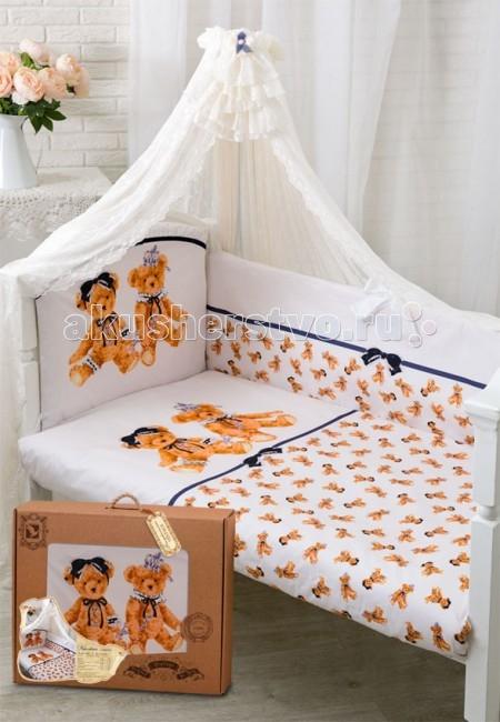 Комплект для кроватки Золотой Гусь Королевские мишки (7 предметов)Королевские мишки (7 предметов)Новая эксклюзивная коллекция комплектов в кроватку с изысканными и оригинальными рисунками в Винтажном стиле, выполненные методом цифровой печати. Сатин, из которого сшиты эти комплекты, обладает многими замечательными качествами. Он мягкий, шелковистый и прочный, а благородный блеск ткани придаёт выразительность и очарование новым дизайнам. Комплекты упакованы в фирменную коробку.  Состав комплекта (7 предметов): Бампер (4 части) на завязках на весь периметр кровати 360х40, чехлы съемные на молнии  Балдахин (вуаль) 160х450 см Одеяло 108х140 см Подушка 40х60 см Пододеяльник 110х145 см на молнии Наволочка 40х60 Простынь 110х150 на резинке  Материал 100% хлопок, сатин Наполнитель - холофан  Рекомендован для кроватки размером 120 х 60 см .<br>
