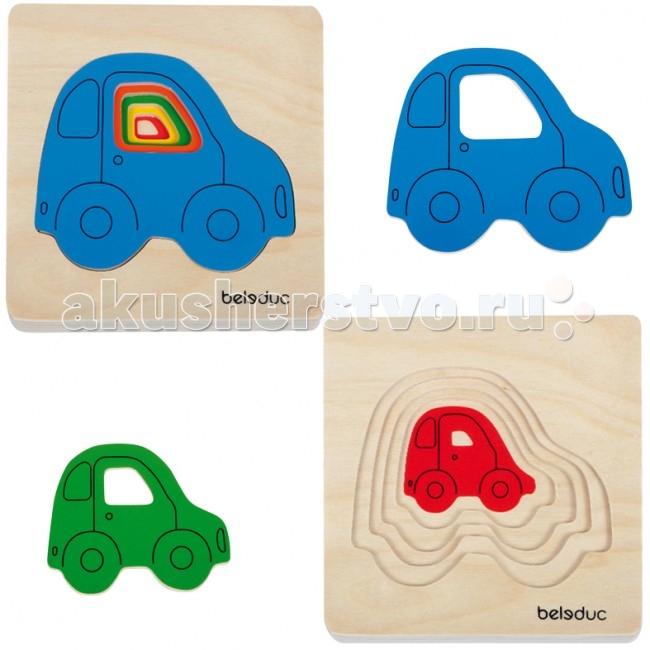 Деревянная игрушка Beleduc Развивающий Пазл Машинки 10142
