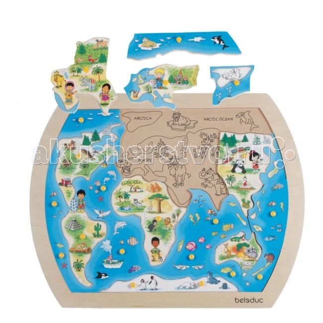 Деревянная игрушка Beleduc Развивающий Пазл Один большой мир 10151Развивающий Пазл Один большой мир 10151Развивающий Пазл Один большой мир Beleduc 10151  Развивающая игра деревянная для малышей.   Яркий цветной пазл формирует у детей первое представление о нашей планете и о людях, живущих на разных континентах.   Игра развивает логическое мышление, внимание, память, воображение; учит правильно воспринимать связь между частью и целым; развивает мелкую моторику рук.  Пазлы Beleduc, изготовленные из русской березы, всегда особенные, они объединяют не только гениальные идеи с эксклюзивными иллюстрациями, но и креативность и качество. Все пазлы рассчитаны на разные возрастные категории, уровни сложности. Но все они очень красочные, увлекательные и главное познавательные.<br>