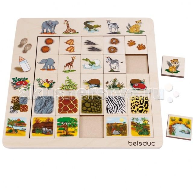 Деревянная игрушка Beleduc Развивающий Пазл Саванна 11060