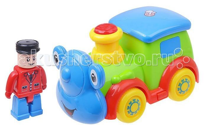 Play Smart Паровозик Веселые колеса со светом и звукомПаровозик Веселые колеса со светом и звукомПаровозик игрушечный PlaySmart «Веселые колеса» станет отличным подарком для малыша и сможет его надолго отвлечь от любых забот. Игрушка отлично подходит как для игр на открытом воздухе, так и в закрытых помещениях. Изделие выполнено из нетоксичных материалов, поэтому полностью безопасно для малыша.  Основные характеристики:  Размеры упаковки: 25х14х10.5 см Вес: 0.402 кг Объем: 0.0043156<br>