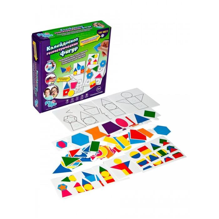Развивающая игрушка Pic`n Mix Пазл-липучка Калейдоскоп геометрических фигурПазл-липучка Калейдоскоп геометрических фигурОбучающая игра пазл-липучка Pic`n Mix Калейдоскоп геометрических фигур включает в себя 2 этапа и состоит из 6 игровых полей, используя которые, ребенок учится собирать образы и изображения из нескольких геометрических фигур; на втором этапе, он составляет сложные геометрические фигуры совмещая простые.   Игра Развивает следующие навыки: пространственное воображение; восприятие формы и цвета; зрительную память; творческие способности; мелкую моторику рук.  Игра комплектуется инструкцией - методическим пособием, которая не только описывает правила игры, но и предлагает сценарий её проведения, где в простой и доступной форме ребенку рассказывается о геометрических фигурах.<br>