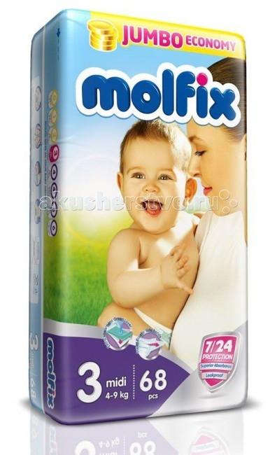 Molfix Подгузники Миди 3 (4-9 кг) 68 шт.Подгузники Миди 3 (4-9 кг) 68 шт.Подгузники Миди Molfix 3 (4-9 кг) 68 шт.  Не для кого ни секрет, что каждая мама хочет обеспечить защиту и комфорт для своего малыша.   Новые премиальные подгузники Molfix отвечают самым высоким стандартам качества категории и соответствуют ожиданиям даже самых взыскательных мам: они отлично впитывают, тонкие и эластичные, обеспечивают малышам надежную защиту, комфорт и хорошее настроение.   Подгузники Molfix дерматологически протестированы и одобрены независимым исследовательским институтом Dermatest GmbH (Германия).  Особенности: • Специальный ультра впитывающий слой обеспечивает быстрое впитывание; • Тонкая анатомическая структура для комфорта малыша; • Ультра эластичные боковинки обеспечивают свободу движений; • «Дышащий» внешний слой и ультра мягкий внутренний слой для заботы о коже малыша; • Защитные барьерчики обеспечивают защиту от протеканий.  В каждой упаковке подгузников Molfix веселые и красочные дизайны на подгузниках!<br>