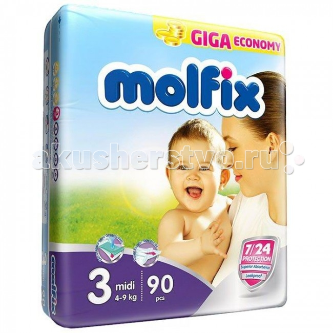 Molfix Подгузники Миди 3 (4-9 кг) 90 шт.Подгузники Миди 3 (4-9 кг) 90 шт.Подгузники Миди Molfix 3 (4-9 кг) 90 шт.  Не для кого ни секрет, что каждая мама хочет обеспечить защиту и комфорт для своего малыша.   Новые премиальные подгузники Molfix отвечают самым высоким стандартам качества категории и соответствуют ожиданиям даже самых взыскательных мам: они отлично впитывают, тонкие и эластичные, обеспечивают малышам надежную защиту, комфорт и хорошее настроение.   Подгузники Molfix дерматологически протестированы и одобрены независимым исследовательским институтом Dermatest GmbH (Германия).  Особенности: • Специальный ультра впитывающий слой обеспечивает быстрое впитывание; • Тонкая анатомическая структура для комфорта малыша; • Ультра эластичные боковинки обеспечивают свободу движений; • «Дышащий» внешний слой и ультра мягкий внутренний слой для заботы о коже малыша; • Защитные барьерчики обеспечивают защиту от протеканий.  В каждой упаковке подгузников Molfix веселые и красочные дизайны на подгузниках!<br>