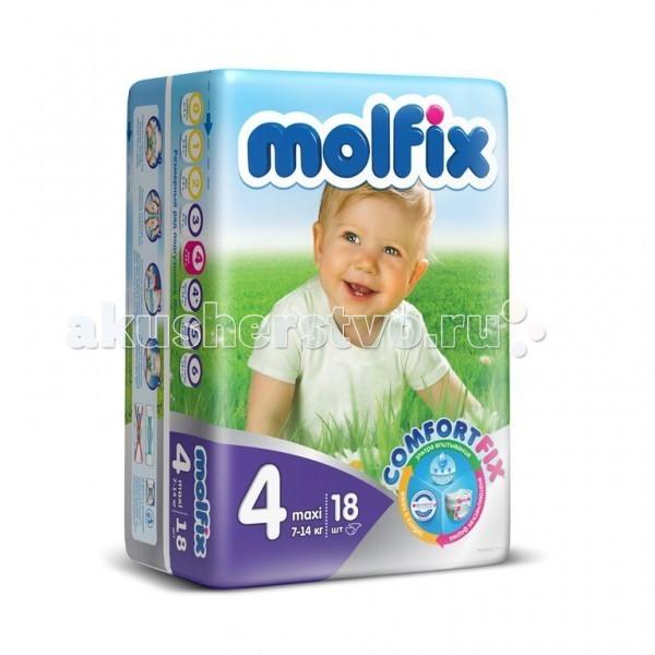 Molfix Подгузники Макси 4 (7-14 кг) 18 шт.Подгузники Макси 4 (7-14 кг) 18 шт.Подгузники Макси Molfix 4 (7-14 кг) 18 шт.  Не для кого ни секрет, что каждая мама хочет обеспечить защиту и комфорт для своего малыша.   Новые премиальные подгузники Molfix отвечают самым высоким стандартам качества категории и соответствуют ожиданиям даже самых взыскательных мам: они отлично впитывают, тонкие и эластичные, обеспечивают малышам надежную защиту, комфорт и хорошее настроение.   Подгузники Molfix дерматологически протестированы и одобрены независимым исследовательским институтом Dermatest GmbH (Германия).  Особенности: • Специальный ультра впитывающий слой обеспечивает быстрое впитывание; • Тонкая анатомическая структура для комфорта малыша; • Ультра эластичные боковинки обеспечивают свободу движений; • «Дышащий» внешний слой и ультра мягкий внутренний слой для заботы о коже малыша; • Защитные барьерчики обеспечивают защиту от протеканий.  В каждой упаковке подгузников Molfix веселые и красочные дизайны на подгузниках!<br>