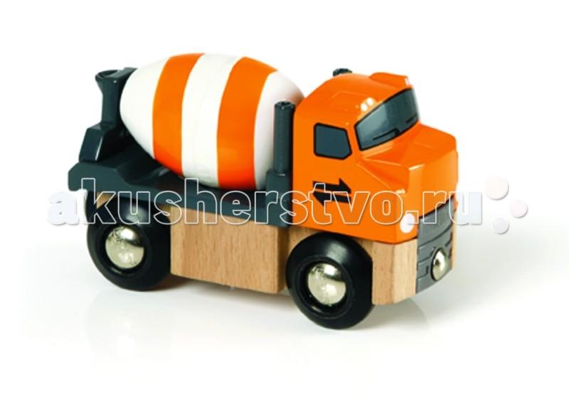 Brio Машинка-бетономешалкаМашинка-бетономешалкаМашинка-бетономешалка, 9х3х5см, блистер Brio.  Машина - бетономешалка. У грузовика можно поднять кабину, барабан вращается. Благодаря магнитному зацепу, к грузовику-бетономешалке можно присоединить другие прицепы или вагоны деревянной железной дороги Brio.<br>