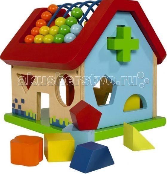 Сортер Eichhorn ДомикДомикРазвивающая игра Eichhorn сортер домик выполнена из натурального дерева и очень приятна на ощупь.   Ребенку наверняка понравится передвигать разноцветные шарики на крыше домика, а также просовывать фигурки в оконца.   Этот замечательный домик в игровой форме научит малыша различать форму и цвет, поможет улучшить моторику и координацию движений ребенка, и, возможно, будет способствовать даже обучению счету!<br>