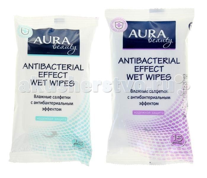 Aura Влажные салфетки с антибактер. эффектом Beauty 15 шт.