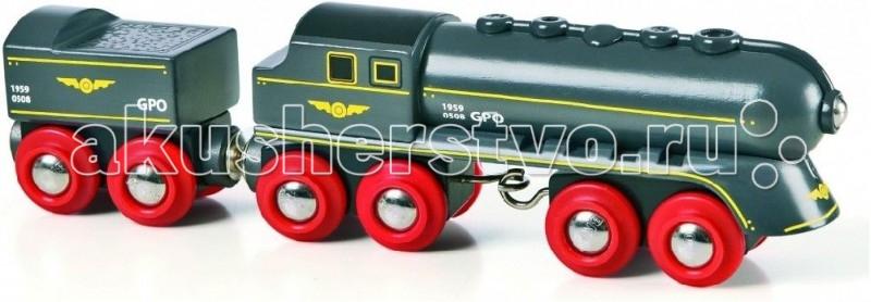 Brio Скорый поезд 2 элементаСкорый поезд 2 элементаСкорый поезд, 2 элемента, 19х3,4х5см.  Дополнительный элемент для развития железной дороги. Без механизмов, то есть катать его можно руками. Размер: 19х3,4х5 см.<br>