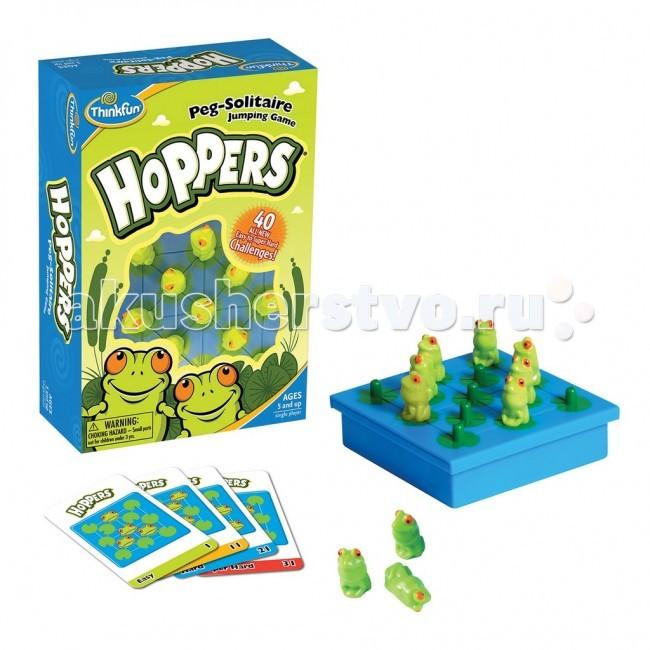 Thinkfun Настольная игра Лягушки-непоседы Hoppers от 5 лет 6703-RUНастольная игра Лягушки-непоседы Hoppers от 5 лет 6703-RUThinkfun Настольная игра Лягушки-непоседы Hoppers состоит из поля, зелёных лягушек и одной красной, 40 карточек заданий 4-х типов сложности.   Вам нужно прыгать лягушками, пока на поле не останется только одна красная лягушка. Правила прыжков такие: можно прыгать, перепрыгивая только через одну другую лягушку (через две лягушки или через пустой листочек прыгать нельзя). Перепрыгнутая лягушка убирается с поля. Вот и всё - попробуйте!<br>