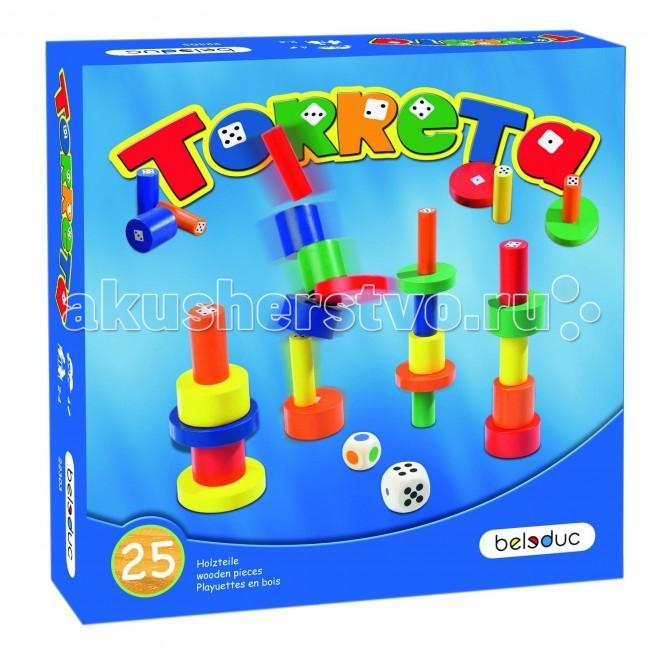 Beleduc Развивающая игра Башенки 22303Развивающая игра Башенки 22303Развивающая игра Башенки 22303 Beleduc  В процессе игры ребенок изучает цвета, формы, получает представление о размерах и пропорциях, развивает моторику.   Для игры используются кубик с цветными символами и кубик с точками.  В зависимости от выпадающих цветов и чисел, игроки выбирают брусочки и строят из них башенки.   Победителем станет тот, кто построит самую высокую башню.  Включает 27 деталей: 25 деревянных брусков, 1 кубик с цветами, 1 кубик с точками.   Все детали выполнены из высококачественных материалов, совершенно безопасных для маленьких детей.  Игры Beleduc идеально подходят для начального развития детей, задолго до того, как они идут в школу, но и просто для интересного времяпрепровождения. Игры Beleduc идеально подходят для совместной игры родителей и детей. Некоторые игры очень понравятся взрослым, которые с удовольствием втянутся в процесс игры.<br>