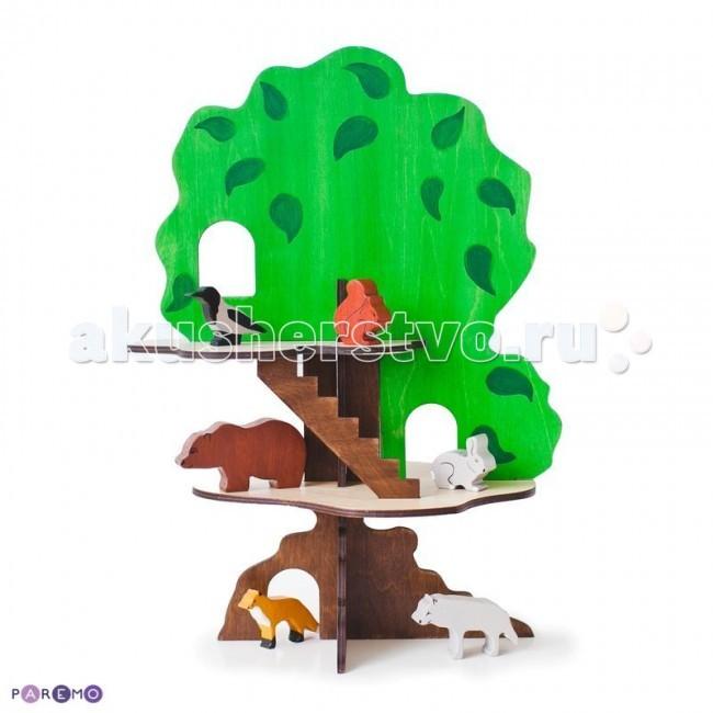 Деревянная игрушка Paremo конструктор Дом-дерево с 6 фигурками животных