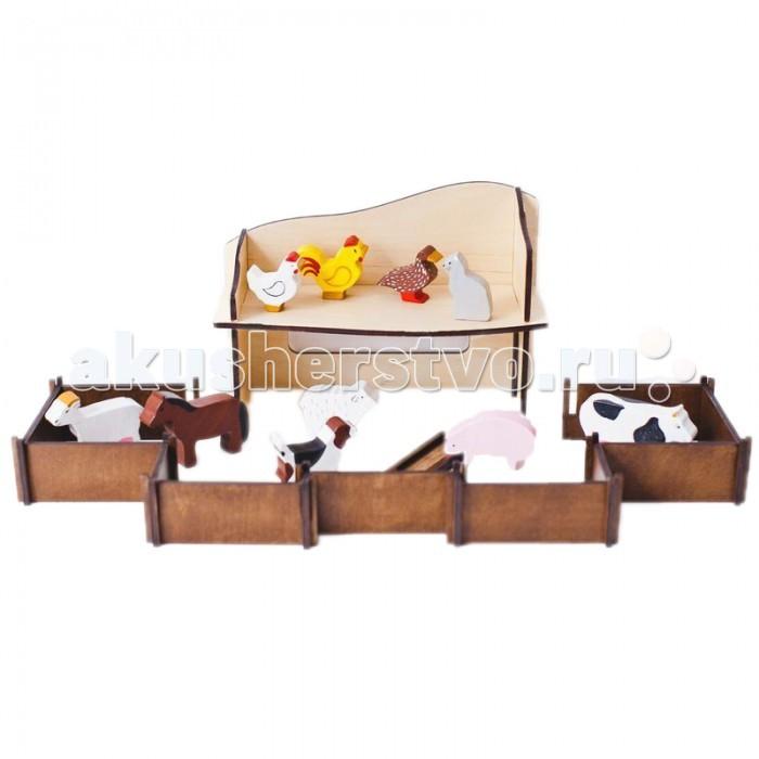 Деревянная игрушка Paremo конструктор Ферма с 10 фигурками животных