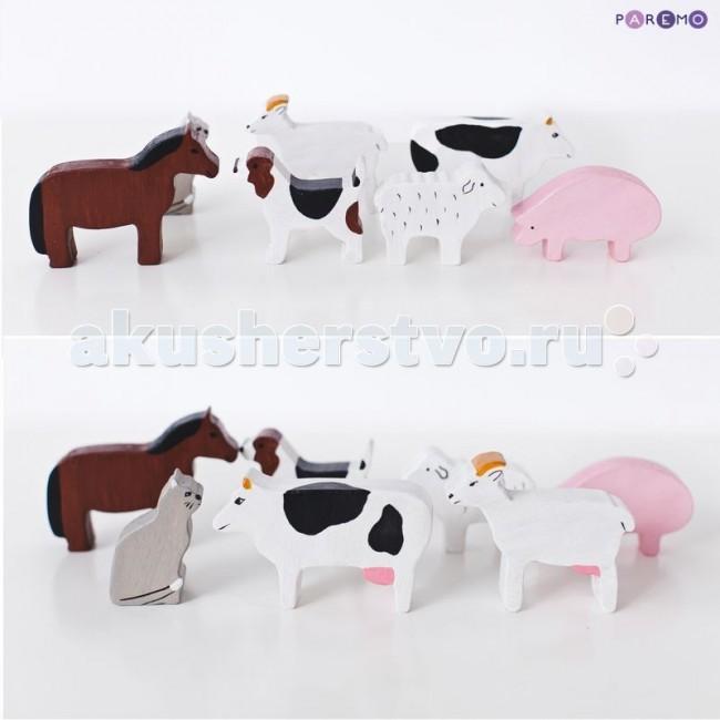 Деревянная игрушка Paremo Игровой набор Домашние животные - 7 фигурок