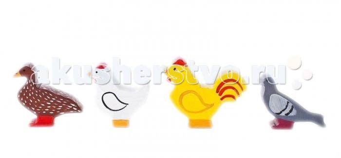Деревянная игрушка Paremo Игровой набор Птицы - 5 фигурокИгровой набор Птицы - 5 фигурокДеревянная игрушка Paremo Игровой набор Птицы - 5 фигурок. Деревянный набор игрушечных птиц разработан для знакомства малышей в игровой форме с миром природы, а также для использования в качестве аксессуаров к классическим сюжетно-ролевым играм (Ферма, Инсценировка сказок), в т.ч. и в детских садиках.  В комплект входит 5 фигурок самых распространенных в России птиц: ворона утка курица петух голубь.<br>