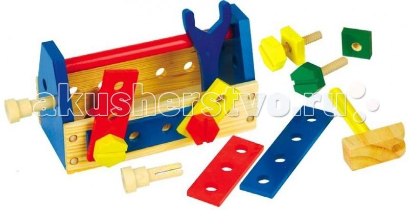 Деревянная игрушка МДИ Строительный набор Д050Строительный набор Д050Деревянная игрушка МДИ Строительный набор.  Яркий разноцветный конструктор изготовлен из экологически чистой древесины. Конструировать любят все дети, а особенно мальчики. Конструктор состоит из целого набора пластин с отверстиями, деревянных болтов и гвоздей, гаечного ключа, отвертки и молотка. С помощью этого конструктора ребенок может собирать всякие комбинации, придуманные им самим.   Игра с конструктором способствует развитию у ребенка фантазии, усидчивости, пространственного мышления, технического воображения, моторики пальчиков. Яркие детали конструктора познакомят ребенка с основными цветами.  Размер игрушки 25 х 12 х 14 см Детали от 3 до 17 см Молоток 15 см.<br>