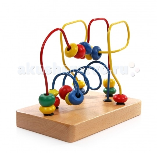 Деревянная игрушка МДИ Лабиринт № 1Лабиринт № 1Деревянная игрушка МДИ Лабиринт № 1.  Лабиринт - отличная игрушка для развития мелкой моторики. Кроме того, игра в Лабиринт развивает пространственное мышление. На основании Лабиринта прикреплены 3 цветные проволоки, изогнутые в разных плоскостях.   Проволоки статичны, сгибать их нельзя. По каждой проволоке можно перемещать деревянные фигурки. Фигурки разного цвета и формы. Во время игры не забывайте называть малышу цвета дорожек и фигурок. Считайте, сколько фигурок переместили. Мелкие детали не снимаются.<br>