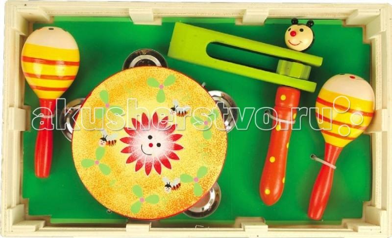 Музыкальная игрушка МДИ Музыкальный набор 2Музыкальный набор 2Деревянная игрушка МДИ Музыкальный набор 2.  Набор музыкальных инструментов – отличный старт для ребенка в мир музыки. Даже самые простые музыкальные инструменты способствуют сенсорному развитию. Чем раньше ребенок начнет получать опыт взаимодействия с разнообразными музыкальными инструментами, тем быстрее и лучше будет в дальнейшем развиваться его речь.  Маракасы - чудесный музыкальный инструмент с пересыпающимися шариками внутри. Ребенок держит маракасы за ручку и трясет - раздается замечательный шуршащий звук, как у большой погремушки.  Игра на этих музыкальных инструментах способствует развитию у детей слуха, чувства ритма и музыкальной памяти, пространственного восприятия, творческого и логического мышления, речи и навыков общения. А также развивает координацию и точность движений рук.  В набор входят:  бубен  маракасы  круговая трещотка. Размер коробочки 31 х 19 х 5,5 см Маракас 12 х 5,5 х 5,5 см Трещотка 16 х 12 х 3,5 см Бубен 12 х 12 х 3 см.<br>