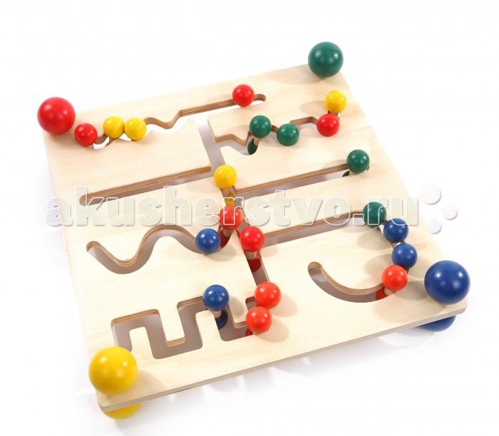 Деревянная игрушка МДИ Лабиринт ШарикиЛабиринт ШарикиДеревянная игрушка МДИ Лабиринт Шарики.  Увлекательная игра Лабиринт Шарики, Мир деревянных игрушек, позволяющая ребенку с интересом развивать множество навыков. Деревянное игровое поле состоит из множества пересекающихся тропинок, по которым в разных направлениях передвигаются шарики четырех цветов. Цель игры – собрать на определенных тропинках шарики одного цвета. В игре формируется пространственное и логическое мышление, умение строить последовательные логические цепочки, тренируется усидчивость, внимание.  Шарики, которые ребенок передвигает по тропинкам небольшие. Захватывая и двигая их малыш тренирует мелкую моторику. Тропинки имеют разные формы, что позволяет ручкам малыша, неоднократно проводя по ним шарики, запоминать движения, которые помогают ему при рисовании и письме. Детали игры окрашены яркими безопасными красками, игровое поле отлично обработано, края закруглены.<br>