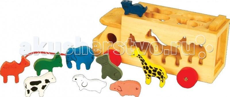 Деревянная игрушка МДИ Машина и звериМашина и звериДеревянная игрушка МДИ Машина и звери.  Эта игрушка сочетает в себе и сортер, и каталку. Развивает мелкую моторику, координацию движений, речь, сенсорику. У машины вращаются колеса и открывается задняя дверь. Каждое животное должно попасть внутрь машины через соответствующее по форме отверстие - для малыша это очень непростая, но очень интересная задача! А еще такая машина прекрасно подойдет для ролевых игр.  Размер машины 27 х 9 х 11 см Размер фигур животных от 6 до 9 см.<br>