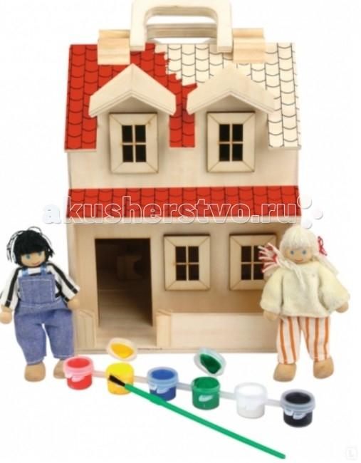 МДИ Домик-РаскраскаДомик-РаскраскаДеревянная игрушка МДИ Домик-Раскраска.  Домик раскраска - представляет собой деревянный домик, набор мебели и двух куколок который можно собственными руками превратить в произведение искусства. Ребенок проявив свое дизайнерское воображение и вкус с помощью красок может превратить обычную безцветную и унылую игрушку в  красочный, увлекательный и неповторимый дом с которой будет интересно играть снова и снова! Такой набор способствует развитию творческих навыков, вкуса и рождению новых идей! Очень важной особенностью является то, что игрушка выполнена из экологически чистого дерева.  Характеристики: дом имеет удобные ручки для переноски домик раскрывается как книжка для удобства игры комплект мебели позволяет полностью обустроить домик для кукол экологически чистые материалы - это безопасность Вашего малыша. Игрушка способствуют развитию: творческого мышления мелкой моторики вкуса цветовосприятия концентрации внимания. В набор входит: 2 куколки мебель дом 6 красок и кисть.<br>