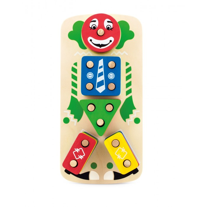 Деревянная игрушка МДИ Клоун ПирамидкаКлоун ПирамидкаДеревянная игрушка МДИ Клоун Пирамидка.  Увлекательная игра, выполненная в виде дощечки с нарисованным на ней клоуном, на частях тела которого расположены деревянные штырьки. На штырьки одеваются различные геометрические фигуры, которые и составляют тело клоуна. Суть в том , чтобы ребенок правильно одел кубики, кружки, треугольники, в соответствии с имеющимися на них отверстиями.  При этом фигуры имеют различные цвета, так что из раза в раз можно одевать клоуна в различные цветовые наряды, что также весьма забавно. Можно как играть с ребенком, подсказывая, куда и что требуется поставить, так и оставить его играть самостоятельно, предварительно показав как правильно одеть клоуна. Также можно организовать коллективную игру, позволяя брать детям по случайному кубику и одевать его на клоуна, а самому быть судьей и ведущим. Регулировать процесс раздачи случайных кубиков и одевания клоуна в цветастый наряд.  Еще один вариант развлечения – попросить ребенка одеть клоуна определённым образом, в рубашку синего цвета, штаны зеленого, и так далее. В этом случае задача усложнится еще и подбором цветов. Все детали клоуна выполнены из дерева и не будут ломаться при эксплуатации, это достаточно надежный материал позволяющий прослужить деталям как модно больший срок.<br>