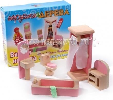 Деревянная игрушка МДИ Набор мебели для кукол Ванная комнатаНабор мебели для кукол Ванная комнатаДеревянная игрушка МДИ Набор мебели для кукол Ванная комната.  Набор деревянной мебели для кукол Ванная комната - отличный выбор для маленькой хозяюшки! Можно обустроить целый кукольный домик. Игрушки - как настоящие. Игра с куклами в кукольном домике с кукольной мебелью увлекательна и познавательна, можно моделировать различные взаимоотношения, почувствовать себя дизайнером интерьера и просто весело провести время, играя как самой, так и с подружками. Способствует социализации детей в обществе. Игрушка изготовлена из экологически чистых и безопасных материалов.<br>