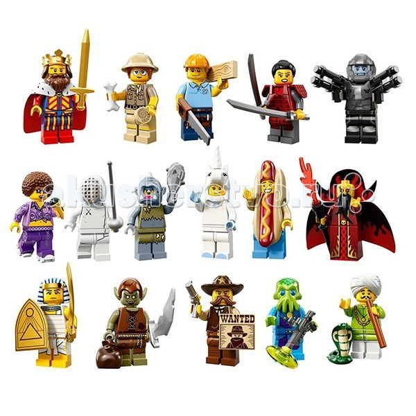 Конструктор Lego Минифигурки серия 13Минифигурки серия 13Lego Минифигурки серия 13 - это 16 новейших минифурок, образы были взяты из спорта, фильмов, истории и повседневной жизни. Каждая минифигурка находится в запечатанной упаковке и имеет свои уникальные аксессуары.  Также в комплект входят подставка для неё и брошюра для коллекционера. Кроме того, прилагается код, активирующий такую же точно минифигурку в онлайн-игре МинифигуркиLEGO©.  Следует добавить, что каждая покупка преподносит ребенку сюрприз, невозможно знать заранее, какой персонаж спрятан в непрозрачной упаковке. Маленький коллекционер сможет не только пополнять свой набор минифигурок, но и обмениваться ими с друзьями.  В состав серии входит: инопланетный солдат галактический солдат классический король злобный маг гоблин леди циклопы заклинатель змей плотник, палеонтолог продавец хотдогов самурай шериф примадонна диско девочка - единорог фехтовальщик египетский воин.  Внимание: в каждом пакетике только 1 минифигурка!<br>