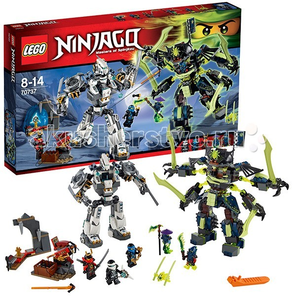 Конструктор Lego Ninjago 70737 Лего Ниндзяго Битва механических роботовNinjago 70737 Лего Ниндзяго Битва механических роботовКонструктор Lego Ninjago Ниндзяго Битва механических роботов - собирается из 754 деталей.  Механический Эйнштейн бросил вызов Механическому титану Зейна, и тот принял его. Отряд ниндзя должен защитить пещеру Самурая и отстоять Аэроклинок.  Противостояние будет жестоким, но интересным. У каждой из сторон ей свои секретные приемы и оружия. Так, на спине титана Зейна есть реактивные двигатели, с помощью которых он может подниматься в воздух.  У всех семи персонажей битвы есть свои сильные стороны. Используй возможности каждого правильно и обдумано.  Шутеры и мечи – оружие роботов, а у ниндзяесть своя тайна – оружие с гарпуном, которое может стать решающим ударом во всей битве. Придумай свой ход событий и свою историю. Пусть победит сильнейший.   В набор входит множество интересных деталей необычных цветов, например, 4 огромных меча таинственного зелёного цвета из прозрачного пластика. Они станут отличным дополнением любой коллекции.<br>