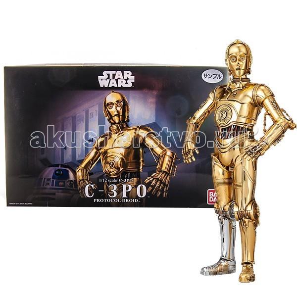 Star Wars Bandai Звездные Войны Сборная модель C-3PO 1:12Bandai Звездные Войны Сборная модель C-3PO 1:12Star Wars Bandai Звездные Войны Сборная модель C-3PO 1:12. Почувствуйте себя Энакином Скайуокером - соберите на свою голову нервозного дроида-переводчика C-3PO!   В набор входит подставка - одна нога дроида прикрепляется к ней, а другая остается свободной, что позволяет придавать фигурке разнообразные позы.  Фигура C-3PO выполнена в масштабе 1:12 (около 14,5 см высотой) из качественного пластика с металлизированным золотистым покрытием (кроме правой голени – которая, как и в фильме осталась серебристой), она имеет подвижные руки, ноги, туловище и голову, благодаря чему способна принимать разнообразные реалистичные позы.   В качестве аксессуаров модель комплектуется подставкой, изображающей пол внутри Имперской космической станции Звезда Смерти, несколькими вариантами панелей лица (нормальной и с сюжетными повреждениями), двумя вариантами кистей рук и другими приятными дополнениями. Вся продукция фирмы Bandai лицензирована фирмами правообладателями, а это гарантирует её высокое качество и безопасность.<br>