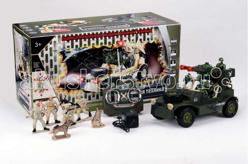 Tongde Машинка военная на Р/У с набором солдат В72192Машинка военная на Р/У с набором солдат В72192Игрушка TongDe В72192 на радиоуправлении Военная техника Джип с зенитной установкой и солдатиками - полнофункциональная модель, выполненная в масштабе 1:20. Машинка двигается вперёд и назад, поворачивает влево и вправо, а также преодолевает подъёмы в 30 градусов. Более интересной игру делает набор солдатиков с собаками - можно устраивать настоящий бой или осуществлять поиск вражеских диверсантов с помощью джипа. Кроме того, игрушка обладает звуковыми (звуки выстрелов и шум мотора) и световыми (свет фар и подсветка пушек) эффектами. Пульт имеет радиус действия в помещении 15 метров, а на открытом пространстве - 30 метров. Требуются 2 батарейки 1,5V (в комплект не входят).  Комплектация:   машинка с экипажем  пульт управления  аккумулятор 4,8V  зарядное устройство  4 фигурки солдатиков и 2 фигурки собак   Основные характеристики:  Размеры упаковки: 50,5х28х22 см Вес: 2.833 кг Объем: 0.0354259<br>