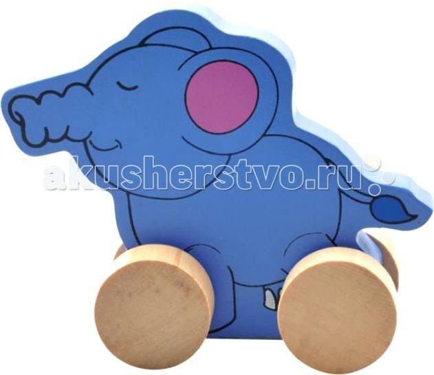 Каталка-игрушка МДИ СлонСлонДеревянная игрушка МДИ Каталка- слон.  Каталка от компании МДИ - деревянная игрушка для малышей с самого нежного возраста. Развивающая игрушка предназначена для развития у ребенка с самого раннего возраста мелкой моторики, логики, усидчивости, ощущения цвета и формы. Деревянные детали гладко отшлифованы, без заусениц, заноз и сучков. Лакокрасочный состав окрашенных деталей химически безвреден. Продукт экологичен, полностью отсутствуют химические добавки.<br>