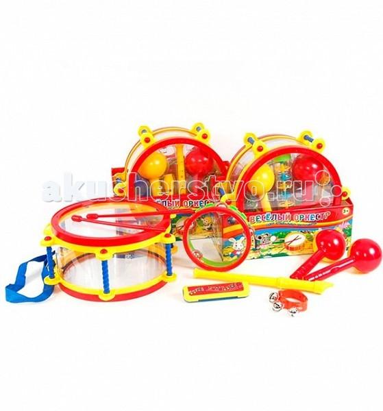 Музыкальная игрушка Tongde Веселый оркестр В71605Веселый оркестр В71605Обучающая игрушка Tongde В71605Веселый оркестр состоит из барабана, бубна, двух маракасов и погремушки. Он изготовлен из высококачественного пластика. Предметы набора выполнены в яркой цветовой гамме. С его помощью можно создать маленький домашний оркестр. Игра на музыкальных инструментах способствует развитию у ребенка чувства ритма, музыкальной памяти, мелодического слуха и творческого мышления.  Основные характеристики:  Размеры упаковки: 34х15х29,5 см Вес: 1.438 кг Объем: 0.017298<br>