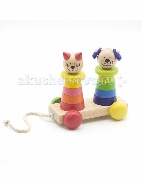 Каталка-игрушка МДИ Пирамидка-каталка Кот и собакаПирамидка-каталка Кот и собакаДеревянная игрушка МДИ Пирамидка-каталка Кот и собака.  Пирамидка Кот и собака от МДИ изготовлена из безопасных, экологически чистых материалов. Можно использовать в качестве каталки. Во время игры малыш учиться складывать, у него развивается усидчивость, сообразительность, внимание, логическое мышление, мелкая моторика пальчиков, ребенок изучает основные формы и цвета.  Особенности собирая пирамидки, малыш знакомится с порядковым и количественным счетом яркие цвета игрушки - средство для развития цветовосприятия во время игры ребенок развивает моторику рук.<br>