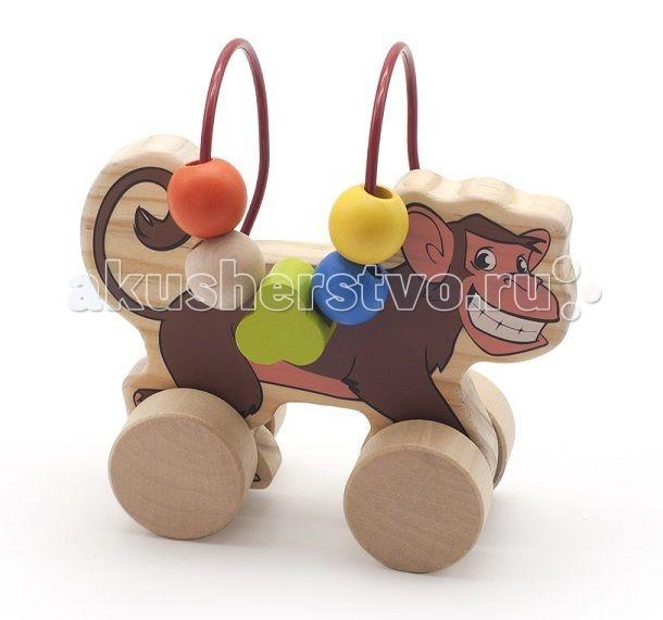 Каталка-игрушка МДИ Лабиринт-каталка ОбезьянаЛабиринт-каталка ОбезьянаДеревянная игрушка МДИ Лабиринт-каталка Обезьяна.  Весьма красочная, многофункциональная развивающая игра каталка и в то же время путаница - игра с целью формирования мелкой моторики, занятия мускул кисти и отработки кругового перемещения, готовимся писать. Взрослых игра расслабляет и убирает перенапряжение. Мелкие детали никак не снимаются, что делает игрушку безопасной для Вашего малыша.  Полезно знать: Этот набор выполнен из качественных материалов по европейским стандартам и покрыт специальной краской на водной основе, которая абсолютно безопасна для вашего малыша. Производитель использует только экологически чистую новозеландскую сосну для производства своих игрушек.<br>