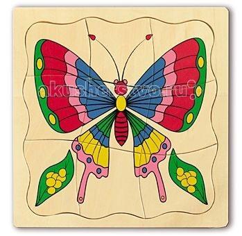 МДИ Пазлы БабочкаПазлы БабочкаПазлы МДИ Бабочка.  На первый взгляд эта игрушка кажется простой, но это не так. Это очень грамотная развивающая игрушка, прекрасный тренажер для ума. Она хорошо развивает мышление, зрительную память, внимание. Ее ценность заключается в ее сложной конструкции: ребенок должен выполнить три аналогичные операции сразу – собрать картинку, наложить одну на другую в правильной последовательности и соотнести каждую картинку с рамкой.   Такая конструкция игрушки позволяет ребенку самому контролировать свои ошибки. Больше того, конструкция пособия позволяет следовать правилу обучения от простого к сложному. Так, для детей 2,5 лет целесообразно первые картинки складывать вне рамок, отдельно на столике, потом сложить одна за другой в логической последовательности, а потом уже выполнить все задачи сразу.   Если ребенок не может найти нужную часть картинки, не спешите ему помогать, дайте ребенку подумать, сделать самому, попробуйте поразмыслить вместе, как именно нужно повернуть деталь, чтоб все части картинки стали на свои места, но постарайтесь сделать так, чтобы верный вариант выбрал ребенок.<br>