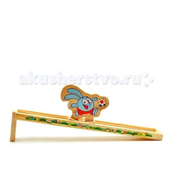 Деревянная игрушка Смешарики Горка КрошГорка КрошДеревянная игрушка Смешарики Горка Крош.  Горка Крош - это яркая и веселая игрушка для любителей веселого мультика Смешарики. Игрушка представляет собой самодвижущегося героя мультика Смешарики Кроша ножки которого шаг за шагом спускаются с деревянной горки которая идет в комплекте.   Горка представляет собой не широкую планку 5,5 см шириной и 37 см длиной. Игрушка сделана качественно, дерево гладко выстругано и хорошо окрашено. Очень важной особенностью является то, что игрушка выполнена из экологически чистого дерева и окрашена безопасными не токсичными красками!<br>