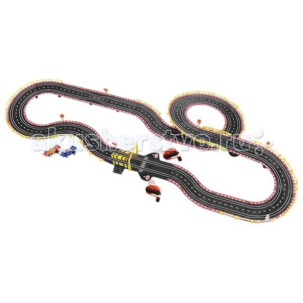 Tongde Автотрек генераторный Крутые гонки Формула IАвтотрек генераторный Крутые гонки Формула IАвтотрек генераторный Tongde В71986 Крутые гонки Formula-1 с двумя машинками - великолепный игровой набор, переносящий юного любителя скорости в захватывающий мир автогонок. Болиды Формулы-1, гоночная трасса, пульты управления и соперник - вот всё, что нужно для хорошего старта. Можно устраивать настоящие гоночные состязания с друзьями или в кругу семьи.  Автотрек прост в сборке, все детали легко крепятся друг с другом. Для начала игры необходимо установить машинки на дорогу и подключить пульты управления к блоку управления. Для движения машинок используются ручные генераторы электричества. Скорость машинок регулируется с помощью ручки на пульте управления (по принципу динамо-машины): чем быстрее участники соревнования крутят ручки генераторов, тем быстрее движутся по треку их машинки. Сложности могут возникнуть при прохождении поворотов: на этих участках трассы игрокам нужно быть предельно внимательными. Здесь всё уже будет зависеть от их мастерства. Для вхождения в поворот скорость придется снизить.  Комплектация:  2 гоночные машинки прямые и радиальные элементы трека элементы ограждения элементы опор финишные ворота 2 пульта управления с генератором электричества  Основные характеристики:  Размеры упаковки: 64х46х8 см Вес: 3 кг Объем: 0.026<br>