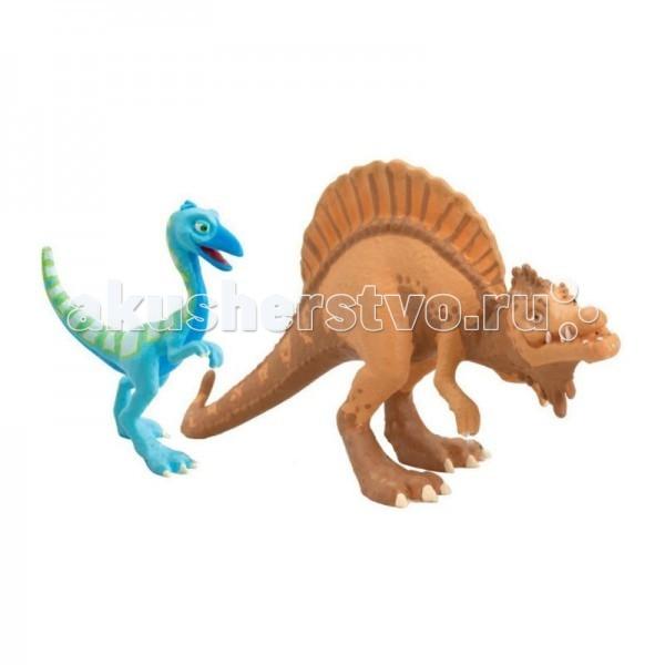 Tomy Набор фигурок Поезд динозавров Старый Спинозавр и X-Ray ОренНабор фигурок Поезд динозавров Старый Спинозавр и X-Ray ОренНабор фигурок Старый Спинозавр и X-Ray Орен Tomy (Томи) понравится поклонникам мультсериала Поезд Динозавров. Фигурки динозавров подходят для игры с различными персонажами Поезда Динозавров.   Характеристики: в комплекте две фигурки (Орен X-Ray - его скелетик светится в темноте) динозаврики подробно детализированы и повторяют своих экранных персонажей блистерная упаковка возраст: от 3 лет и старше материал: пластик  С таким игровым набором Вашему малышу некогда будет скучать! Ведь играя, малыш будет фантазировать и придумывать различные сюжетно-ролевые игры.  Мультсериал «Поезд Динозавров» - о приключениях динозаврика Бадди и его друзей завоевал фантастическую популярность среди детей по всему миру. На удивительном поезде динозавров главный герой Бадди отправляется в меж временное путешествие, чтобы исследовать древний мир и познакомиться с другими видами этих замечательных животных.<br>