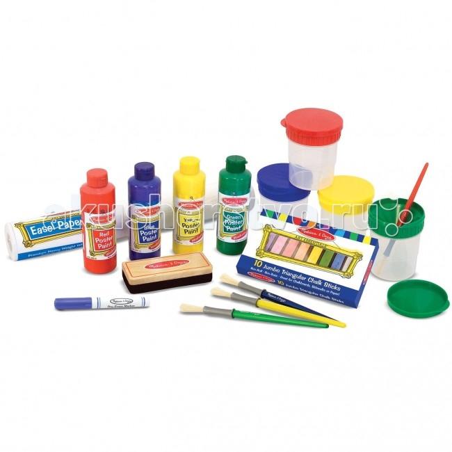 Melissa &amp; Doug Большой набор для рисованияБольшой набор для рисованияПотребности молодого художника, когда приходит вдохновение. В набор входит всё необходимое для рисования на мольберте.   В комплекте: рулон бумаги для мольберта, 4 цвета красок, 4 кисточки, 4 чаши защита от проливания, 10 мелков, губка и сухой маркер.  Melissa & Doug - ведущий мировой производитель игрушек из натуральных материалов, прежде всего из дерева. Вся производимая продукция отличается надежностью, экологичностью и безопасностью для ребенка. Игрушки данной торговой марки предназначены не только для развлечения детей, а в первую очередь ориентированы на раннее развитие и обучение.<br>