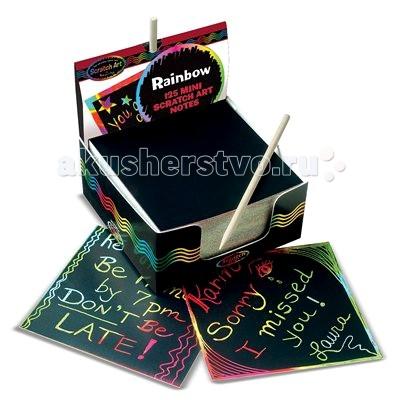 Melissa &amp; Doug Scratch Art Дисплей радужных листовScratch Art Дисплей радужных листовВ набор входит 125 специальных листов для скрэтч-арта (9х9 см), коробочка и деревянная палочка для удаления лишнего защитного слоя.  Эти листы не имеют заранее нанесенных рисунков - можно нарисовать все что угодно!  Melissa & Doug - ведущий мировой производитель игрушек из натуральных материалов, прежде всего из дерева. Вся производимая продукция отличается надежностью, экологичностью и безопасностью для ребенка. Игрушки данной торговой марки предназначены не только для развлечения детей, а в первую очередь ориентированы на раннее развитие и обучение.<br>